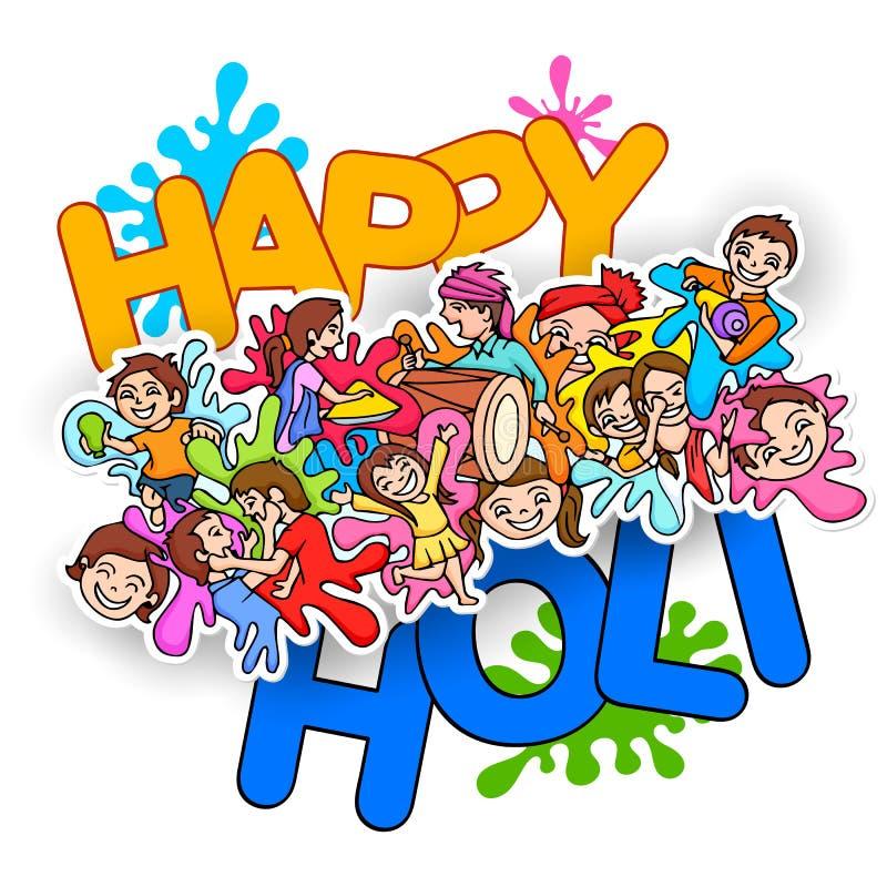 Garatuja feliz do festival de Holi ilustração royalty free