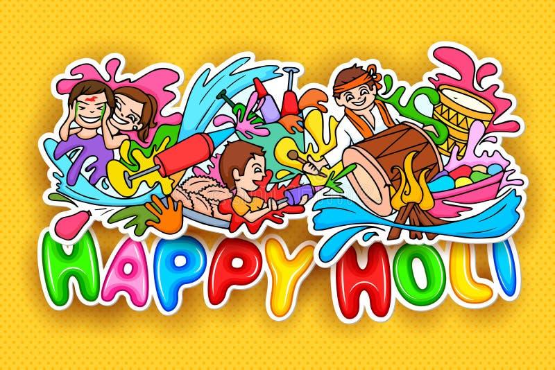 Garatuja feliz do festival de Holi ilustração stock