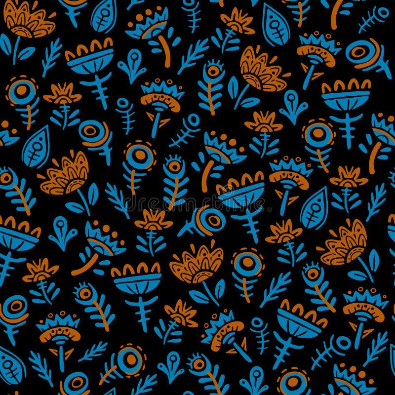 A garatuja floresce a ilustração lisa do vetor do teste padrão sem emenda Plantas fabulosas isoladas no fundo preto Azul e vermel ilustração royalty free