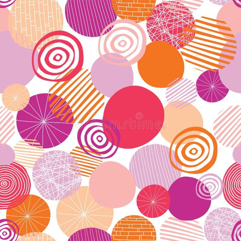 A garatuja geométrica dá forma ao rosa, à laranja, a coral, e pêssego em um fundo branco Os círculos vector o teste padrão sem em ilustração stock