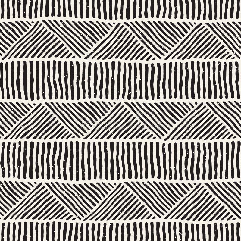 A garatuja geométrica sem emenda alinha o teste padrão em preto e branco Textura retro tirada mão de Adstract ilustração royalty free