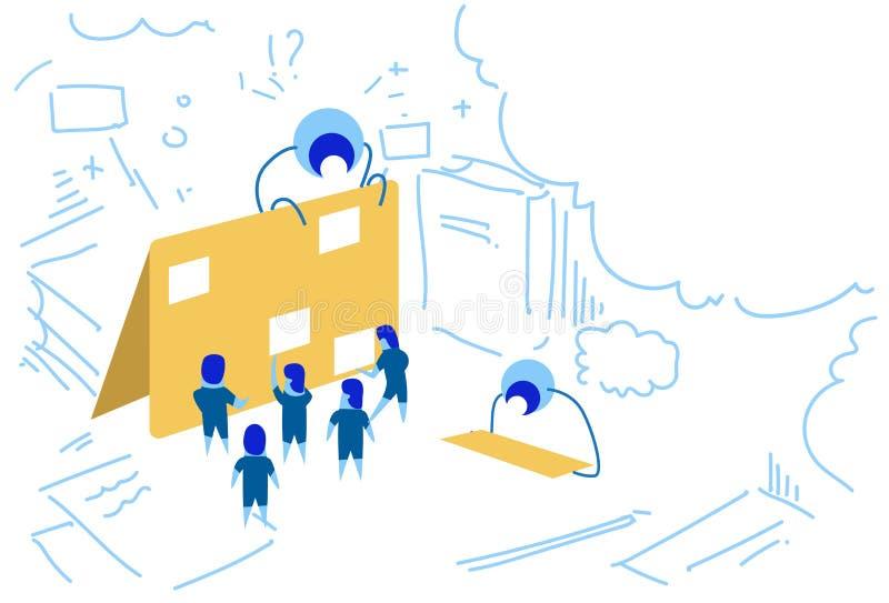 Garatuja incorporada do esboço do conceito do plano da estratégia da sessão de reflexão do grupo dos povos da gestão de tempo do  ilustração do vetor