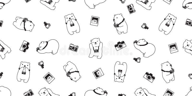 Garatuja isolada d branco da ilustração dos desenhos animados do fundo da telha do papel de parede da repetição da câmera do urso ilustração royalty free