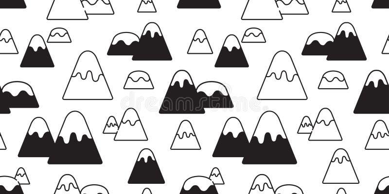 Garatuja isolada dos desenhos animados do fundo do papel de parede da floresta do monte da montanha da neve do teste padrão da mo ilustração royalty free