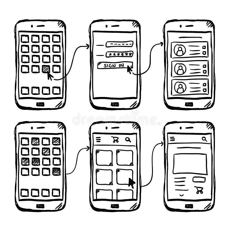 Garatuja móvel do wireframe de UI app ilustração do vetor