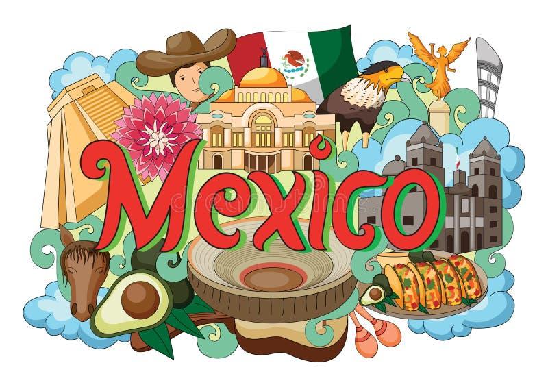 Garatuja que mostra a arquitetura e a cultura de México ilustração do vetor