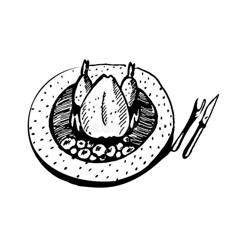Garatuja Roasted da galinha ilustração stock