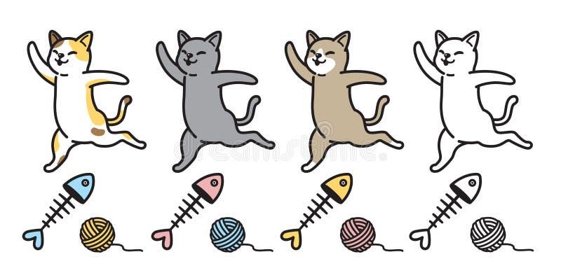 Garatuja salmon da ilustração da bola do fio dos peixes do personagem de banda desenhada da chita do logotipo do gatinho do ícone ilustração do vetor