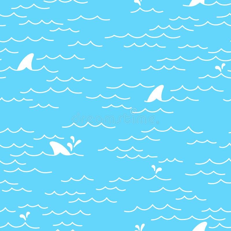 A garatuja sem emenda do oceano do mar do teste padrão do golfinho da baleia do tubarão isolou o fundo do papel de parede ilustração royalty free