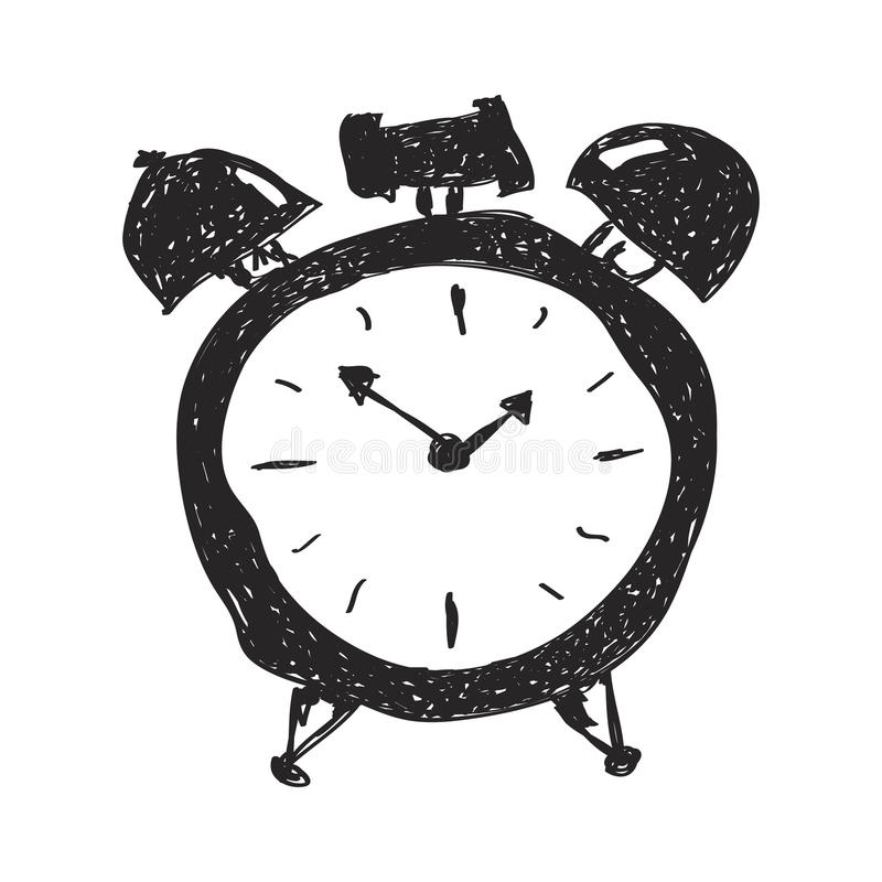 Garatuja simples de um despertador ilustração do vetor