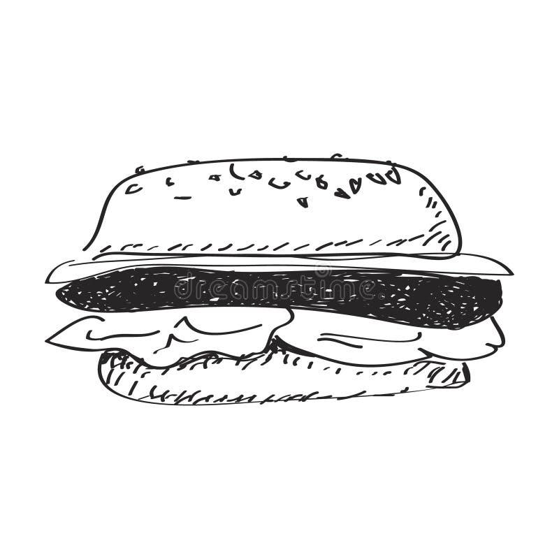 Garatuja simples de um hamburguer ilustração stock