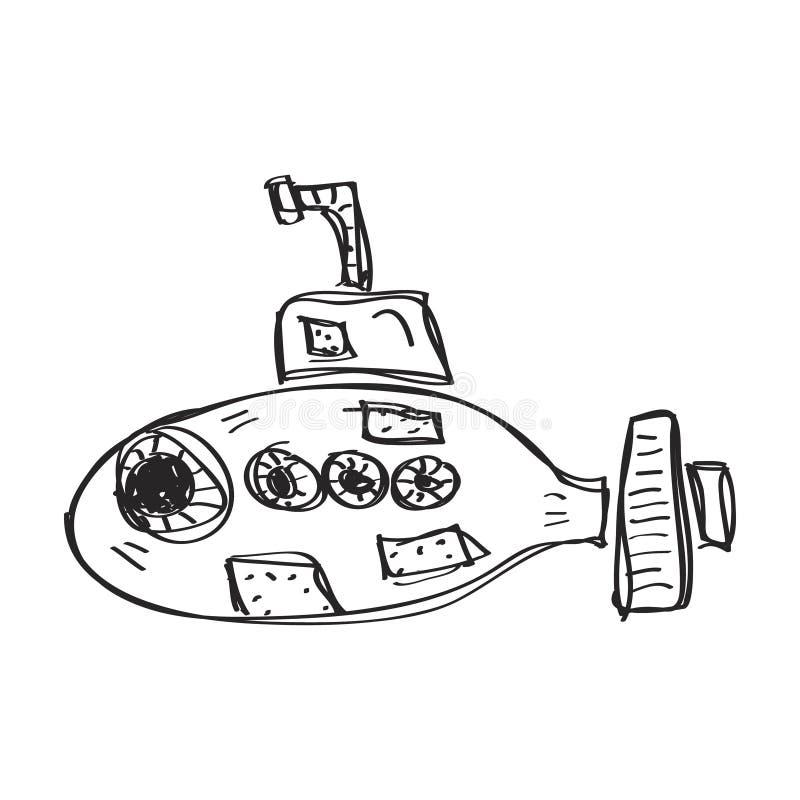 Garatuja simples de um submarino ilustração royalty free