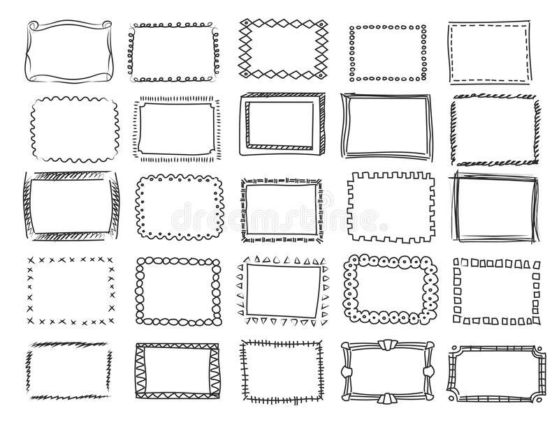 Garatuja simples, quadros quadrados do vetor do esboço ilustração stock