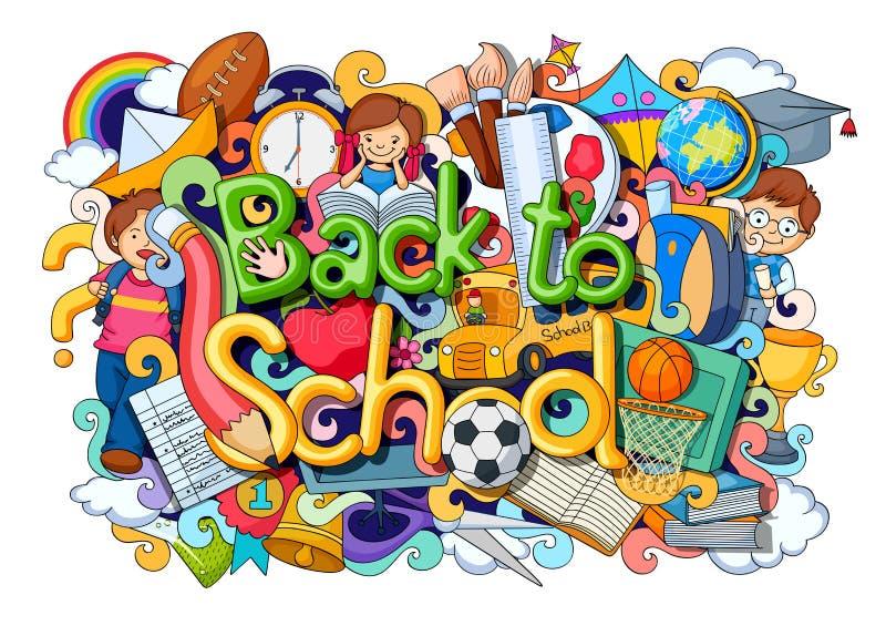 Garatuja sobre de volta ao conceito da escola ilustração do vetor
