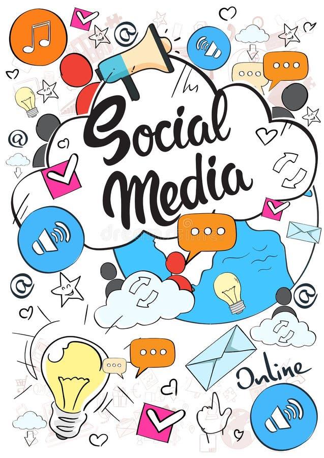 Garatuja social dos povos da conexão de Internet do conceito de Media Communication ilustração stock