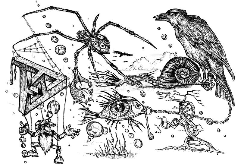 Garatuja surreal ilustração do vetor