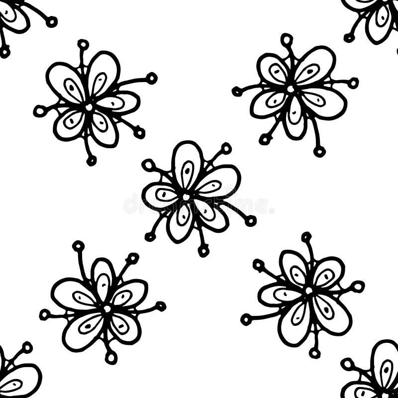 Garatuja tirada da flor do teste padr?o m?o sem emenda ?cone do estilo do esbo?o Elemento da decora??o Isolado no fundo branco Pr ilustração stock