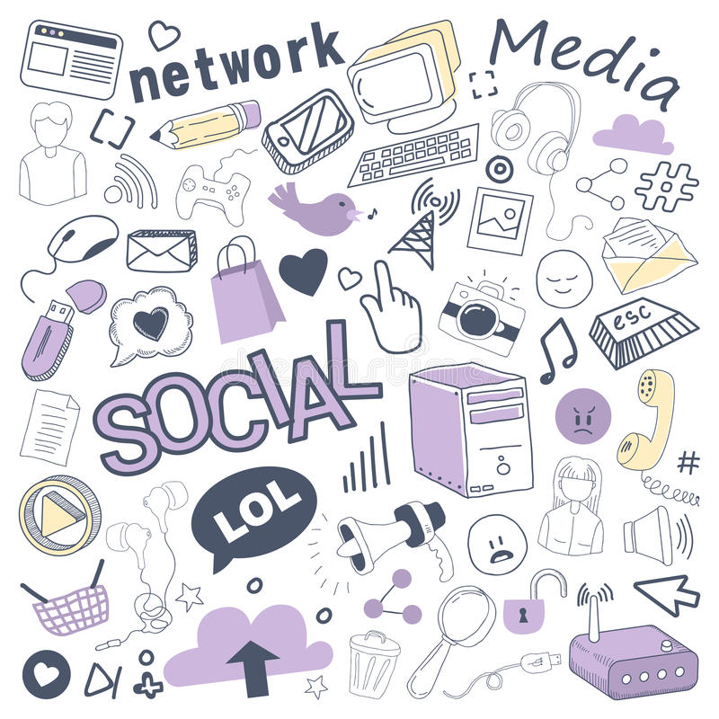 Garatuja tirada dos meios mão social com bolha, elementos de rede e computador Grupo a mão livre das tecnologias de comunicação ilustração stock