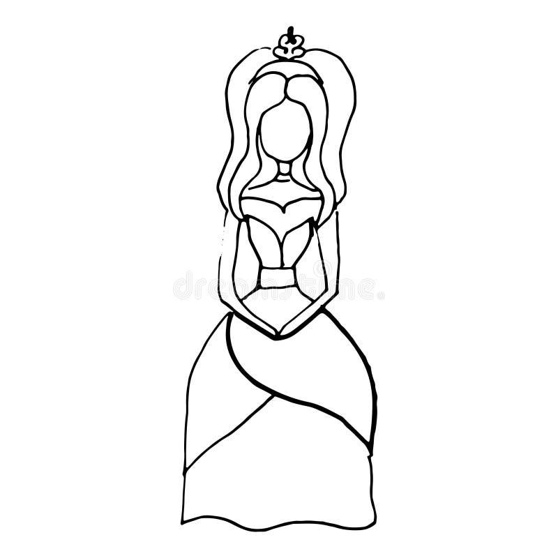 Garatuja tirada mão da princesa Aperfeiçoe para o convite, cartão ilustração do vetor