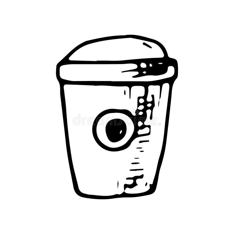 Garatuja tirada mão da xícara de café Ícone do estilo do esboço Elemento da decoração Isolado no fundo branco Projeto liso Vetor ilustração stock
