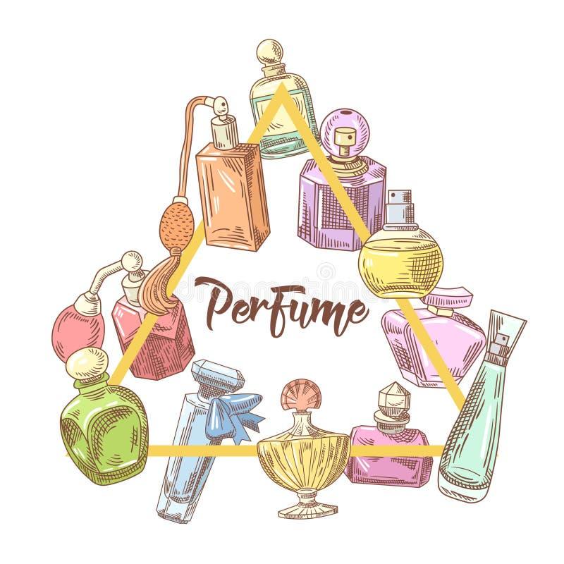 Garatuja tirada mão das garrafas de perfume Aroma francês Beleza da mulher ilustração royalty free