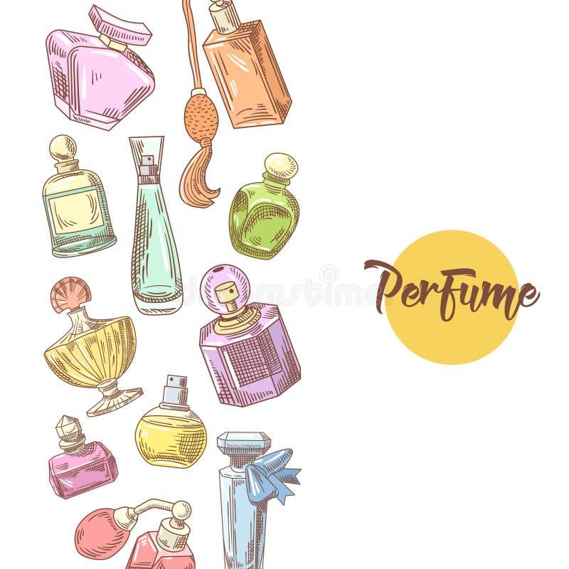 Garatuja tirada mão das garrafas de perfume Aroma francês Beleza da mulher ilustração do vetor