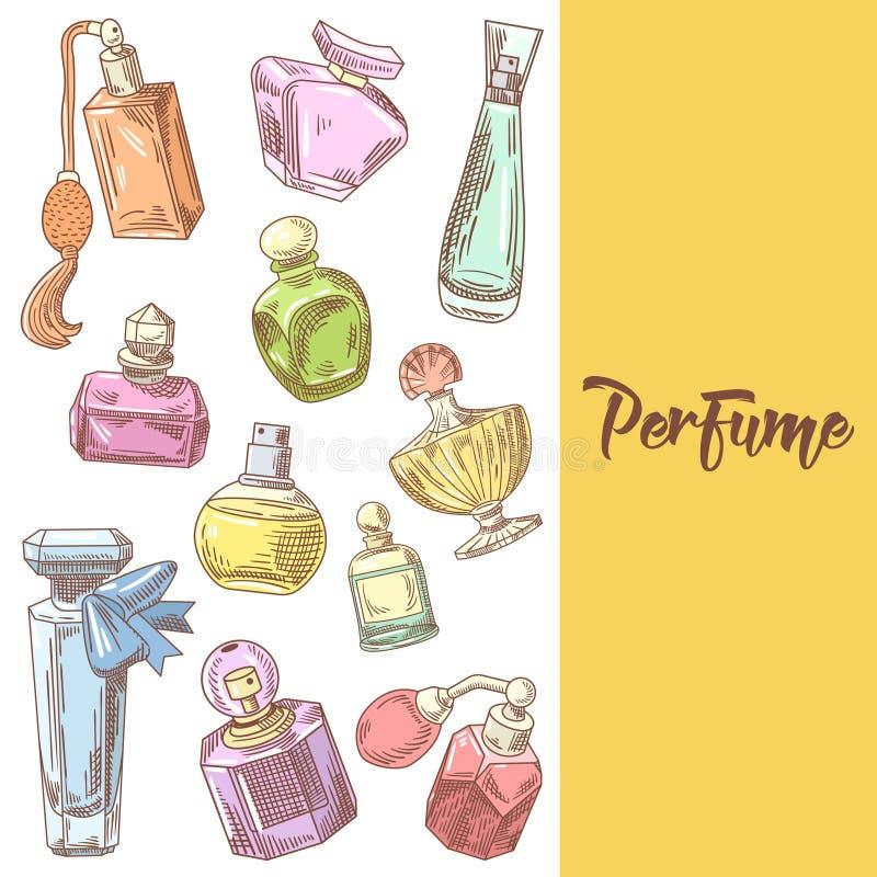 Garatuja tirada mão das garrafas de perfume Aroma francês Beleza da mulher ilustração stock
