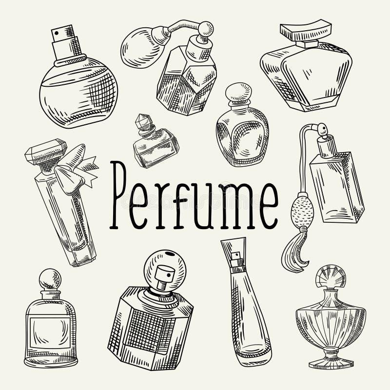 Garatuja tirada mão das garrafas de perfume Aroma francês Esboço da loja de beleza da mulher ilustração royalty free