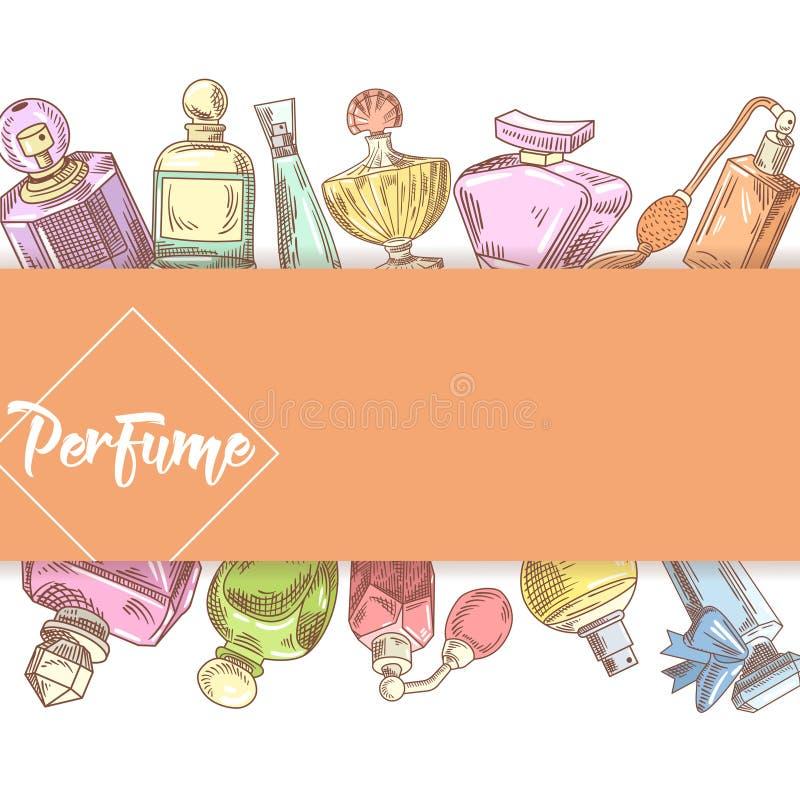 Garatuja tirada mão das garrafas de perfume Aroma francês Projeto da loja de beleza da mulher ilustração do vetor