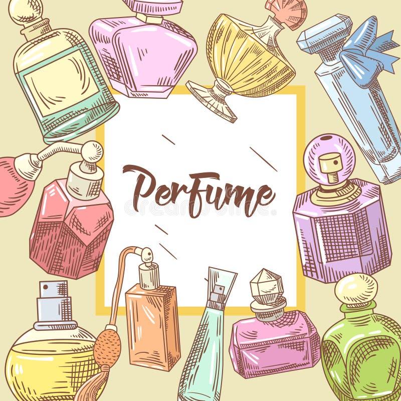Garatuja tirada mão das garrafas de perfume Aroma francês Projeto da loja de beleza da mulher ilustração stock