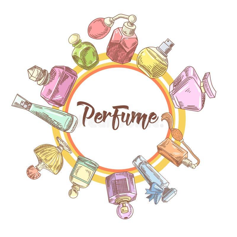 Garatuja tirada mão das garrafas de perfume Aroma francês Projeto da loja de beleza da mulher ilustração royalty free