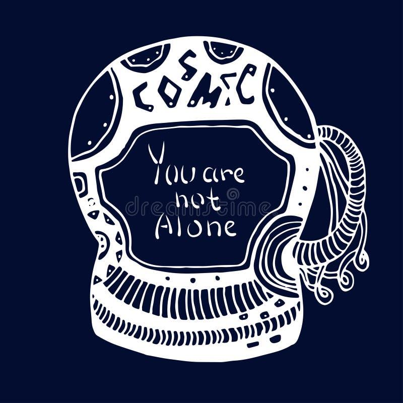 Garatuja tirada mão de Cosmic do astronauta com rotulação - você não está sozinho Conceito do logotipo do vetor no estilo da gara ilustração do vetor