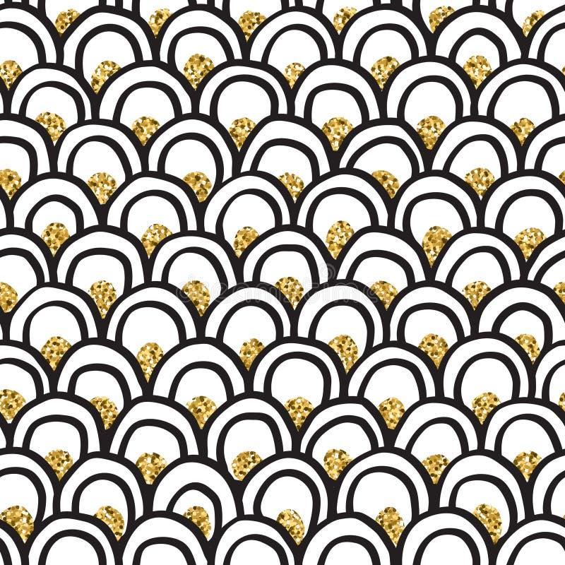 A garatuja tirada mão de tinta preta & do ouro do brilho forma arcos teste padrão do vetor ilustração royalty free