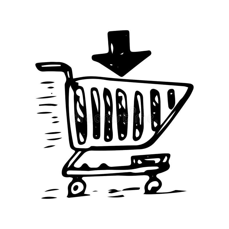 Garatuja tirada mão do cesto de compras ?cone do estilo do esbo?o Elemento da decora??o Isolado no fundo branco Projeto liso Veto ilustração stock