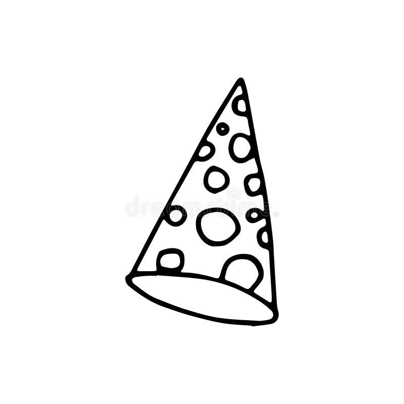 Garatuja tirada mão do chapéu do cone Ícone do estilo do esboço Elemento da decoração Isolado no fundo branco Projeto liso Ilustr ilustração do vetor