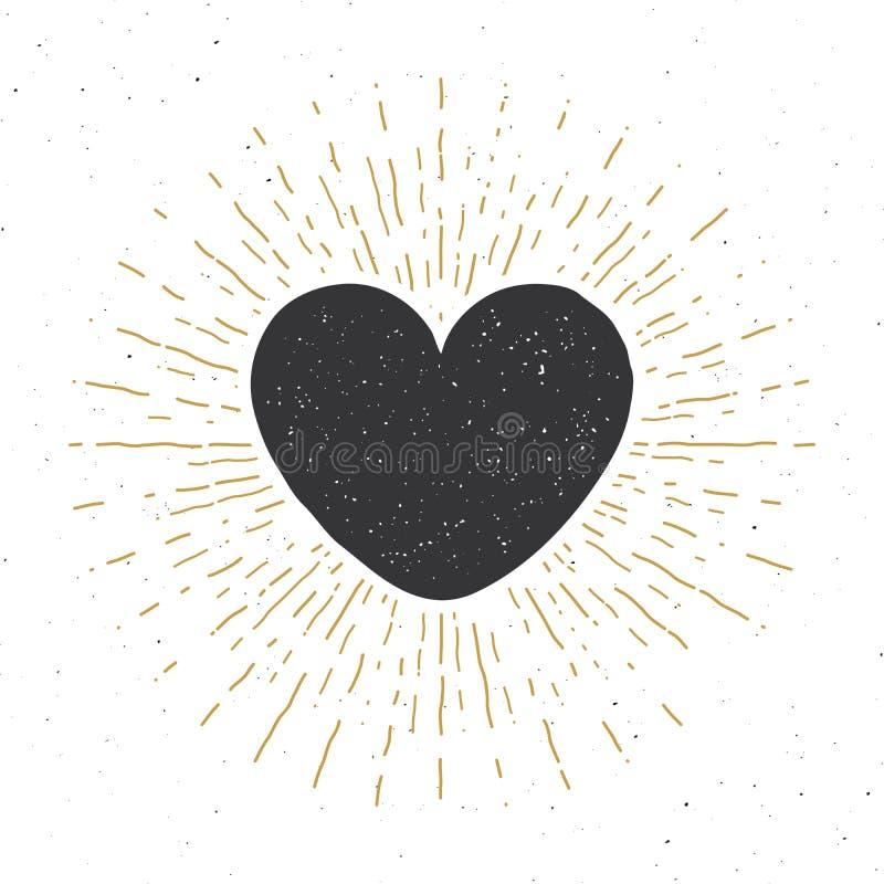 Garatuja tirada mão do esboço do símbolo do coração A etiqueta do vintage, grunge textured o crachá retro, ilustração do vetor do ilustração royalty free