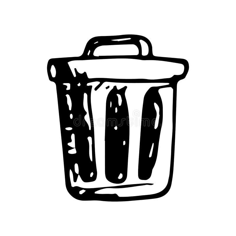 Garatuja tirada mão do escaninho Ícone do estilo do esboço Elemento da decoração Isolado no fundo branco Projeto liso Ilustração  ilustração do vetor