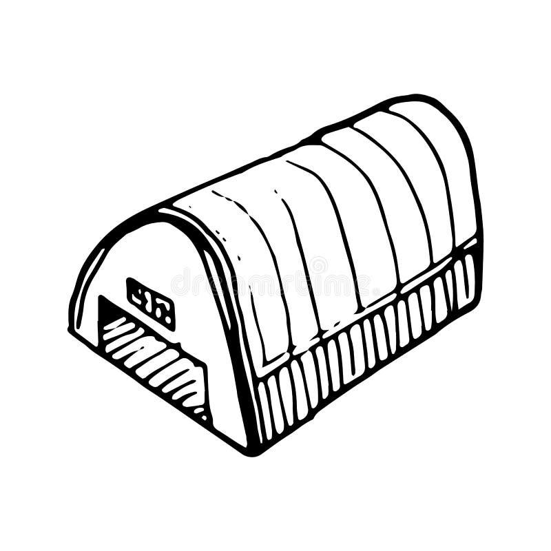Garatuja tirada mão do hangar Ícone do estilo do esboço Elemento da decoração Isolado no fundo branco Projeto liso Ilustração do  ilustração stock