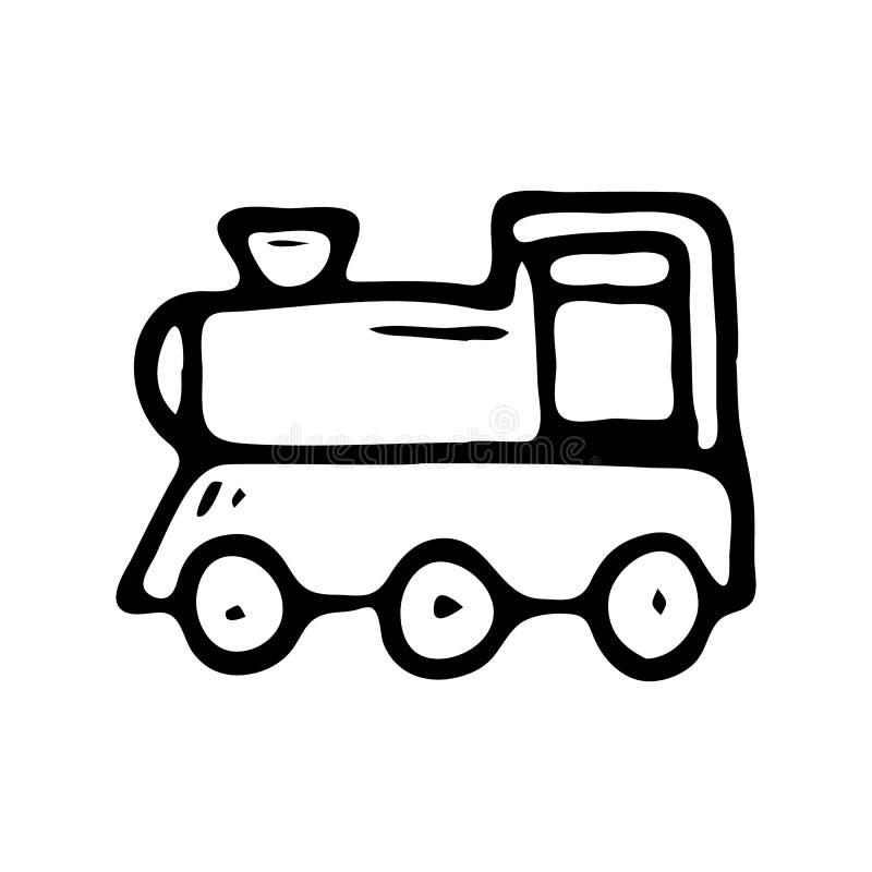 Garatuja tirada mão do trem do brinquedo Ícone do brinquedo das crianças do esboço Decorat ilustração do vetor