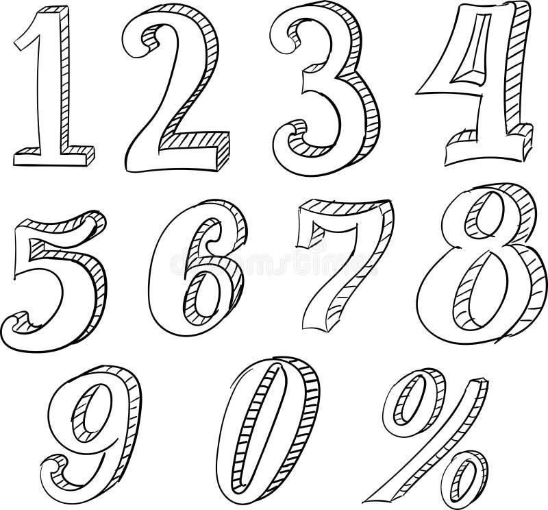 Garatuja tirada mão do vetor ajustada com números ilustração royalty free