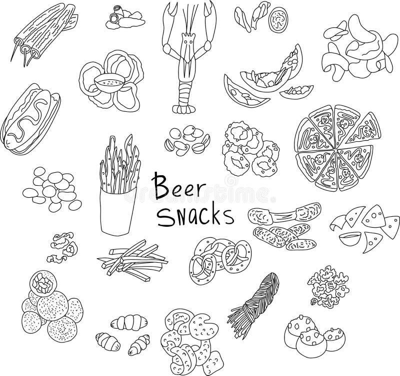 Garatuja tirada mão do vetor de petiscos da cerveja ilustração do vetor
