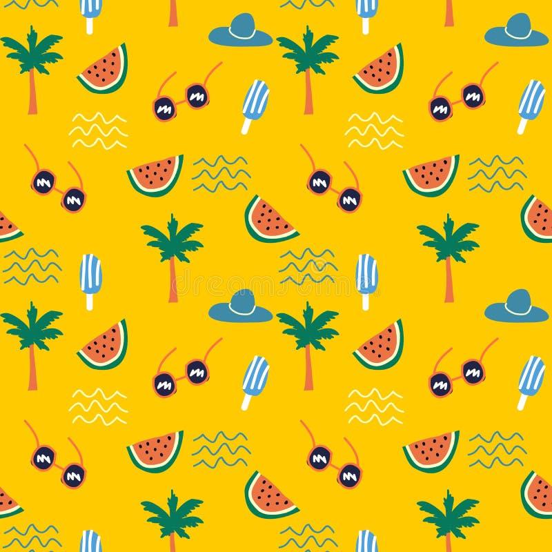 Garatuja tropical do verão que tira o teste padrão colorido ilustração do vetor