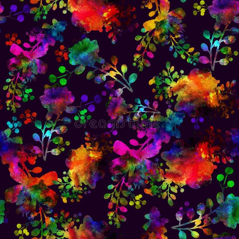 Garatuja verde vermelha do arco-íris da flor sem emenda da aquarela no teste padrão violeta do fundo Elementos tirados mão Arte b ilustração stock