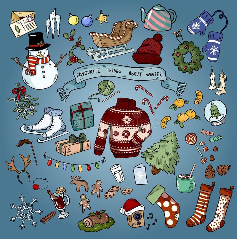 Garatujas coloridas dos favoritos do inverno do Natal Ilustra??o do vetor ilustração stock
