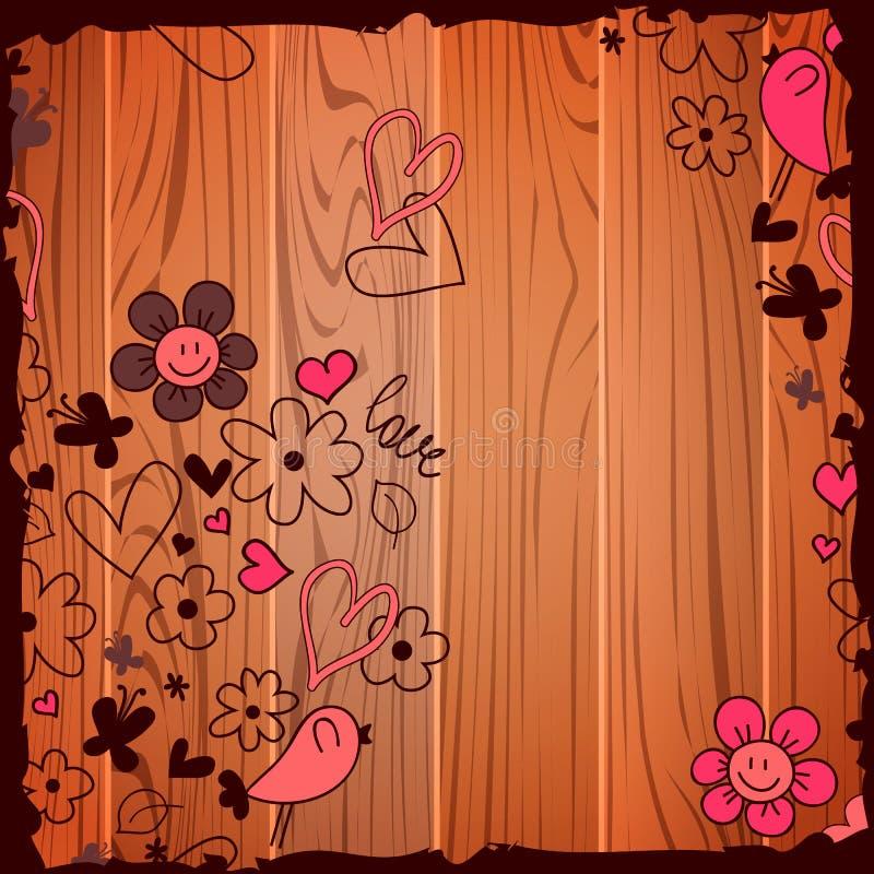 Garatujas da ilustração do Valentim no fundo de madeira ilustração stock