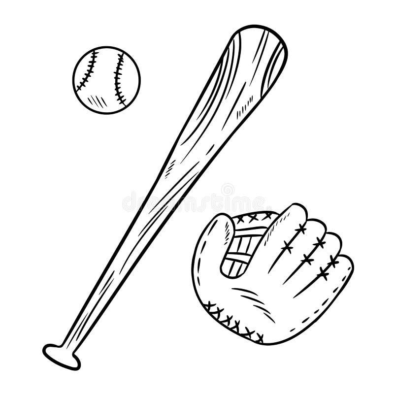 Garatujas da luva do basebol, do bastão de beisebol e do catchig Grupo de imagem tirado mão do esboço ilustração stock