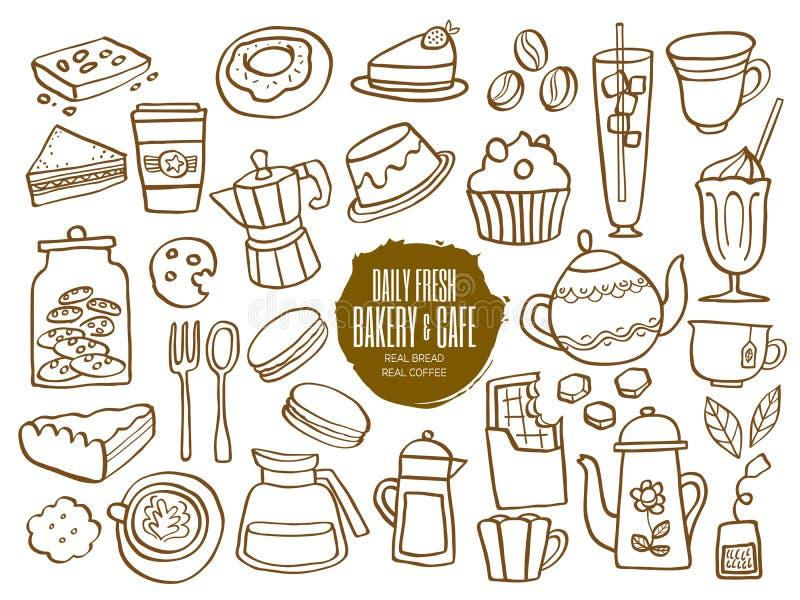 Garatujas das bebidas do café do café da padaria dos doces ilustração stock
