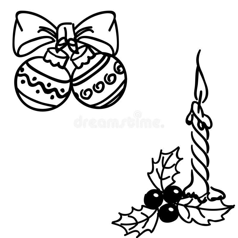 Garatujas das bolas do Natal ilustração royalty free