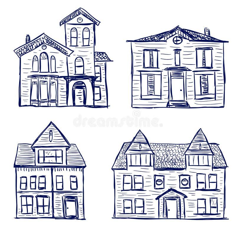 Garatujas das casas ilustração stock