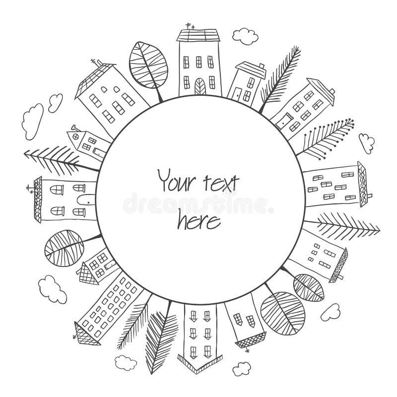 Garatujas das casas no círculo ilustração stock